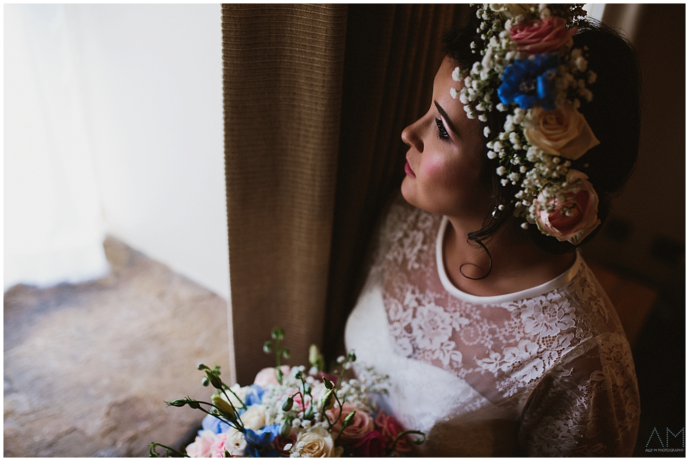 beautiful bride at Beeston Manor, Lancashire