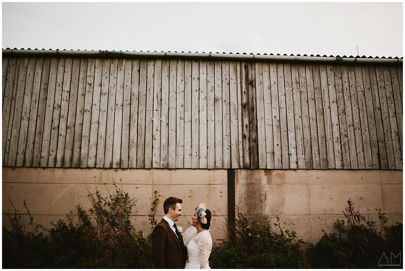 quirky shot of bride and groom at Beeston Manor