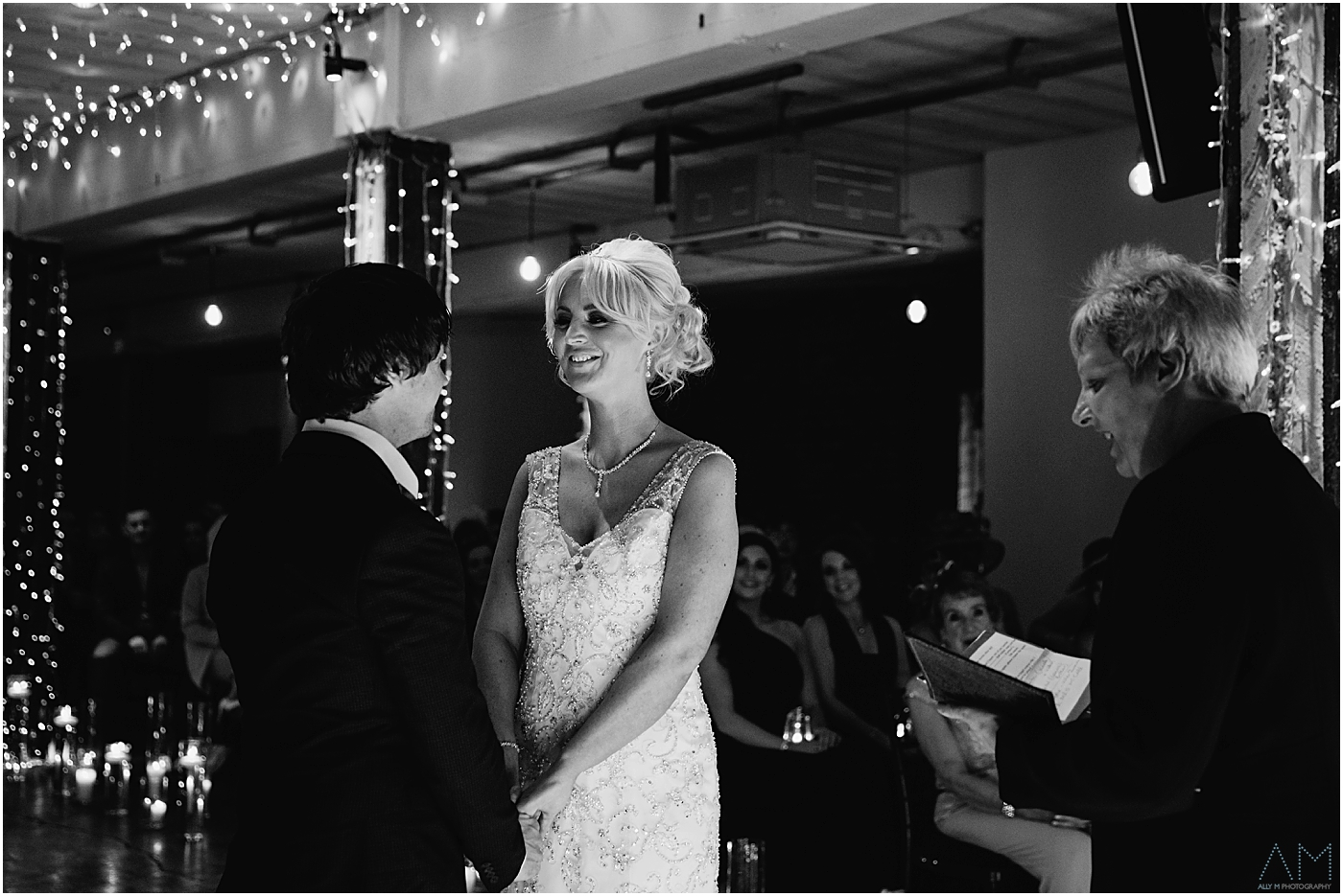 bride looking at groom in Manchester
