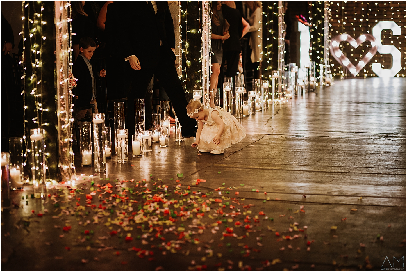 little girl with confetti
