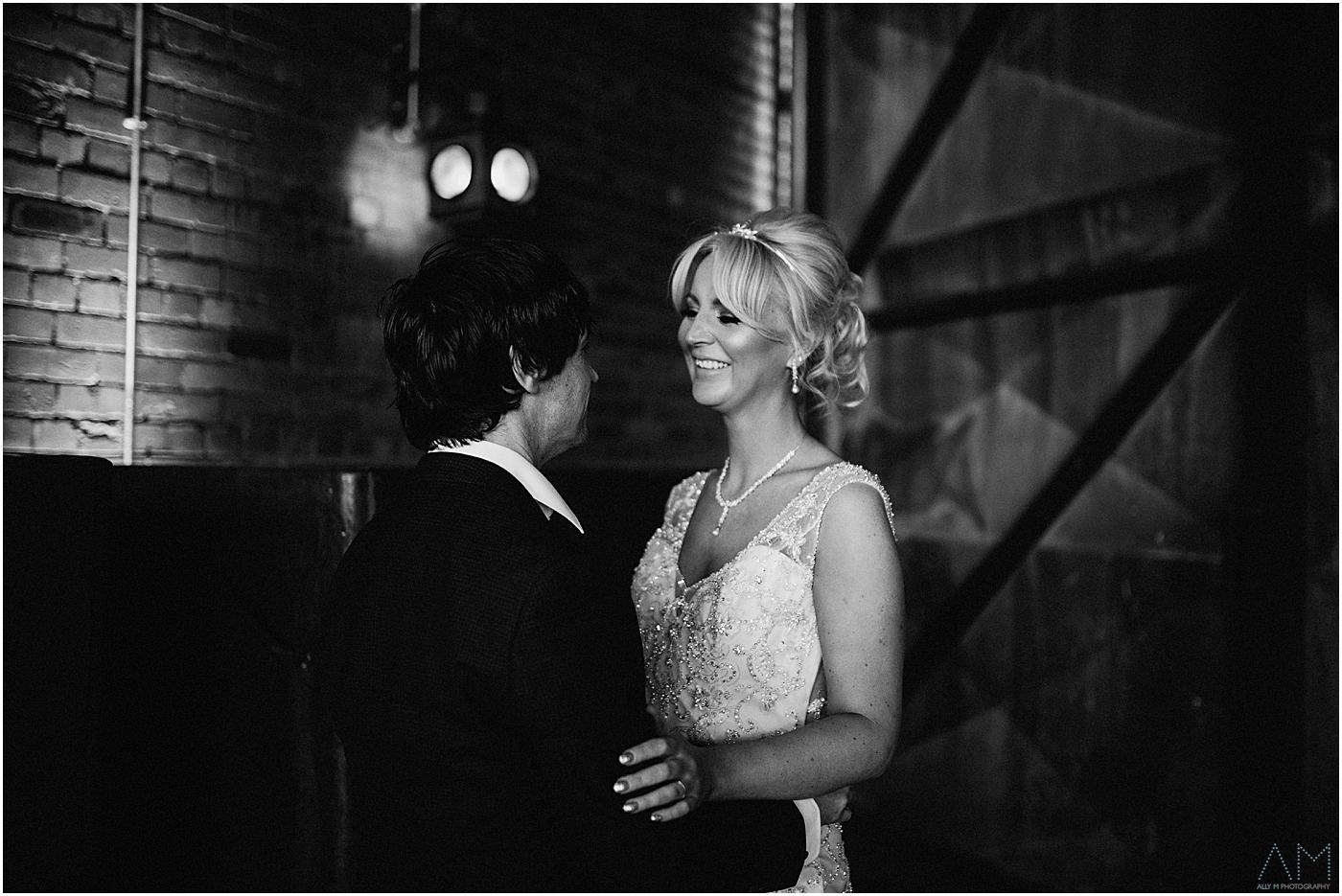 Bride and grrom at victoria warehouse