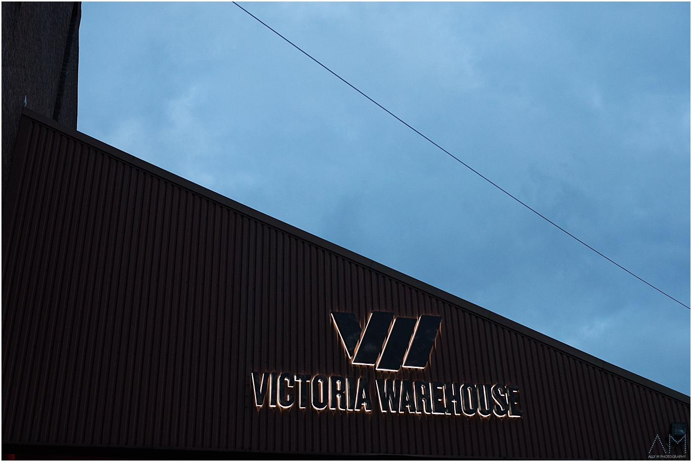 Victoria warehouse at night