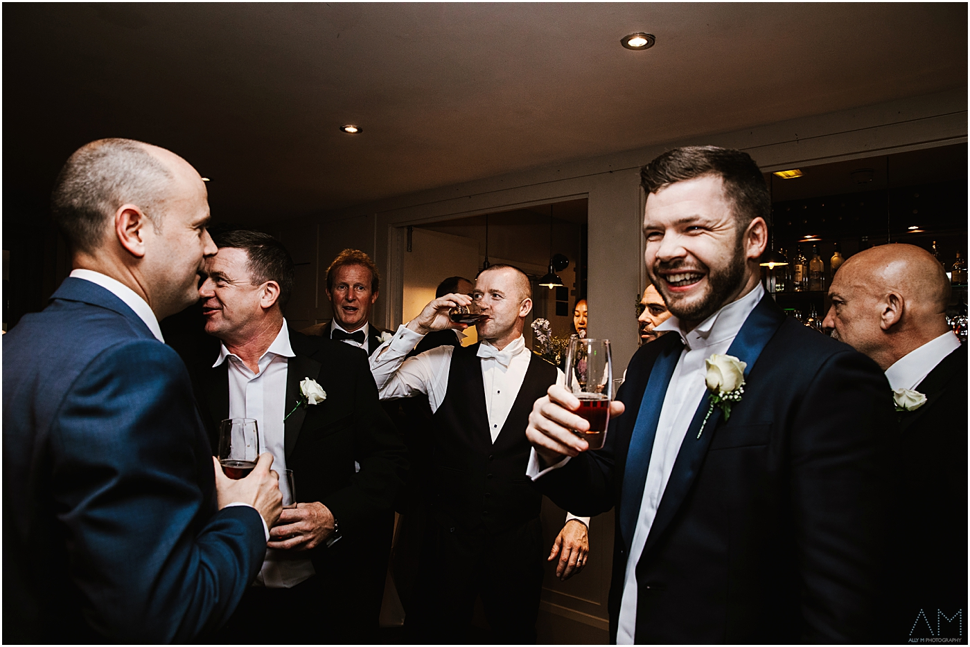 Groom with the lads at the bar