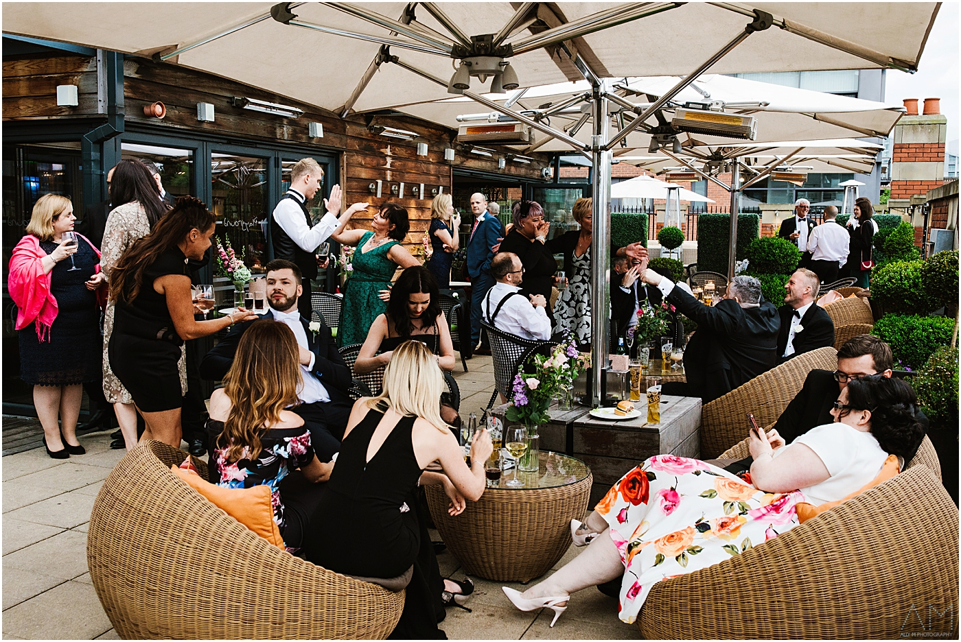 Wedding party on the rooftop lounge
