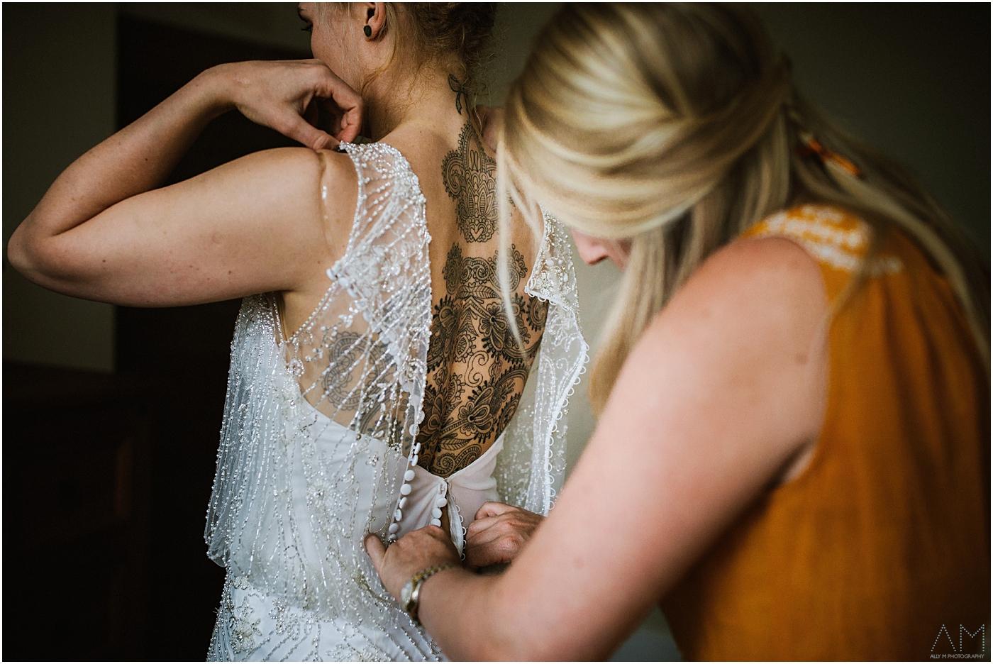 Brides back tattoo