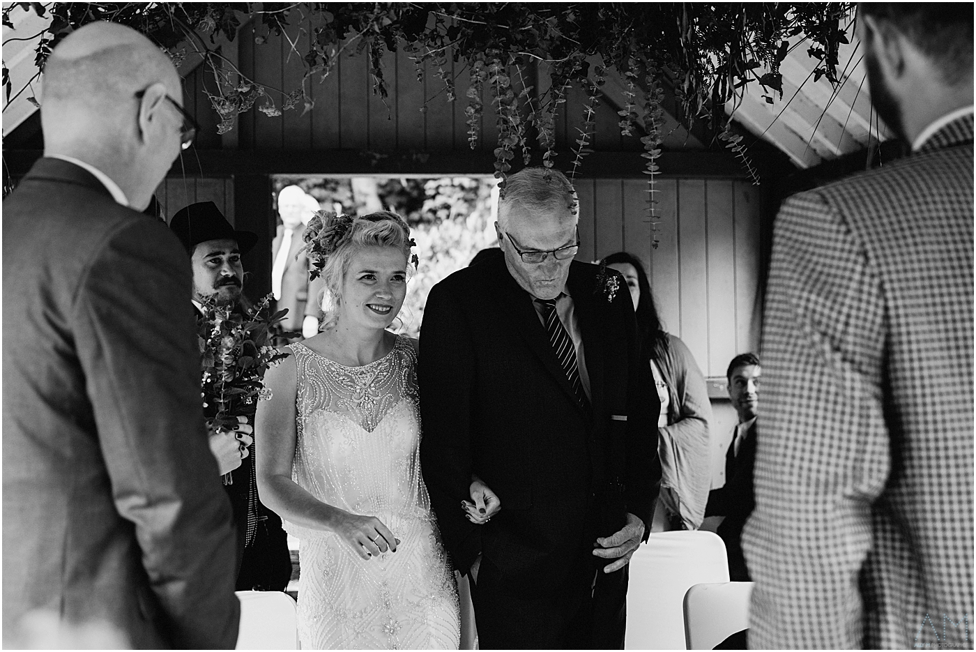 Bride looks at her husband to be