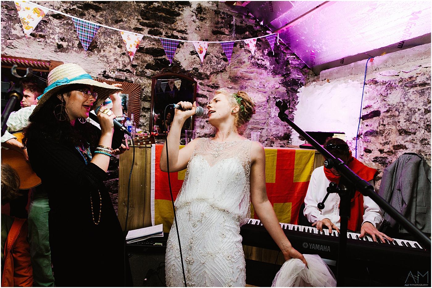 Bride gets up singing
