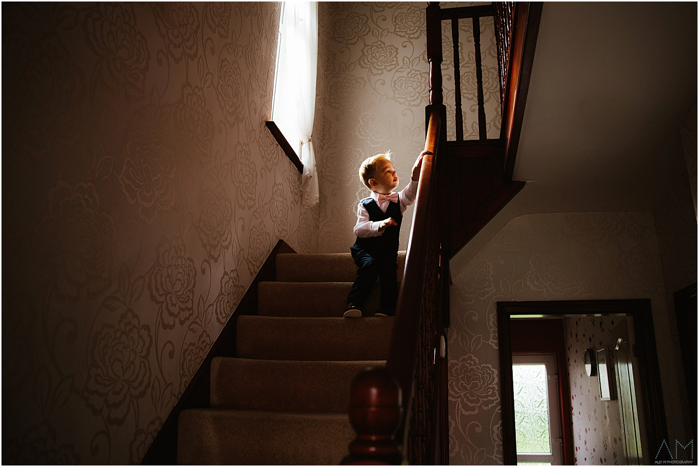 Little boy on the stairs