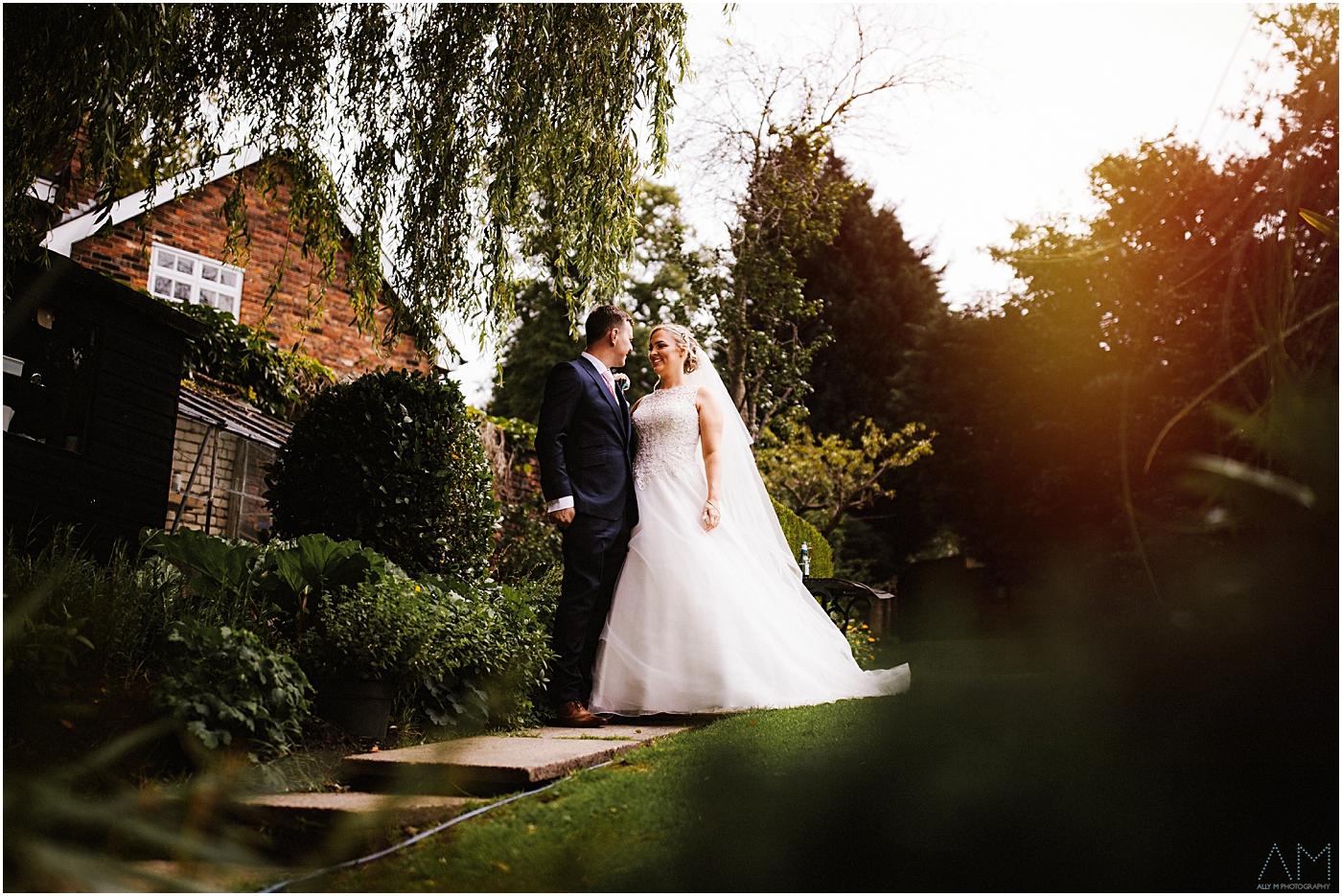Bride and groom at Alderley Edge Hotel