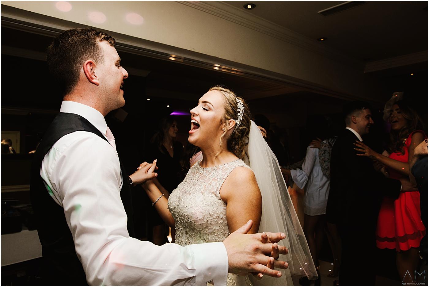 Bride singing to her groom