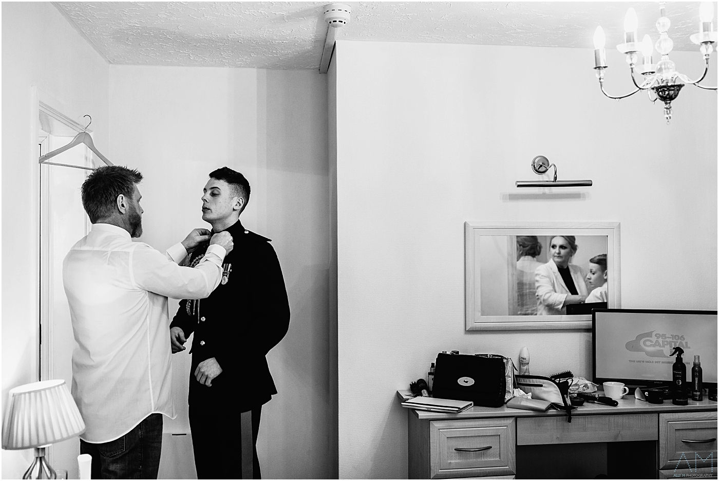 groom preparations at Stirk House