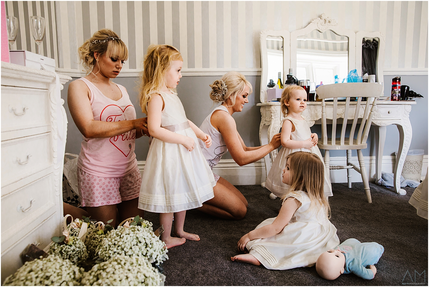 Bride and bridesmaids at Stirk House