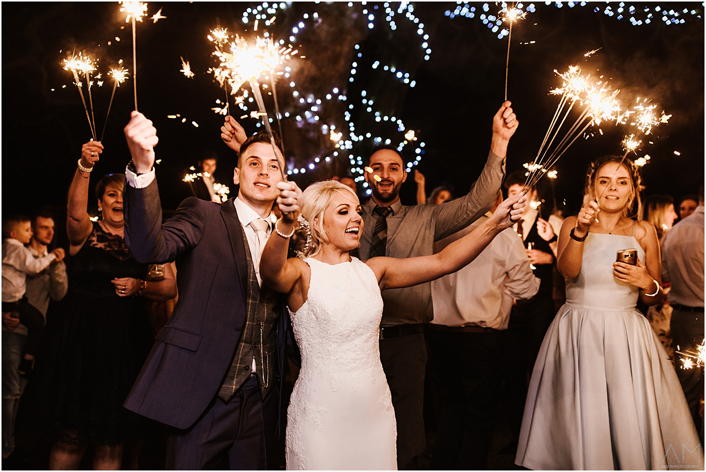 Sparklers at Stirk House Wedding