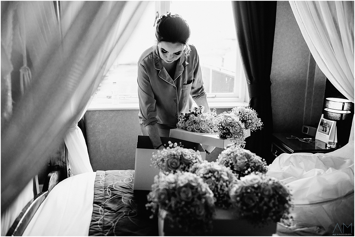 Bride checking her wedding flowers