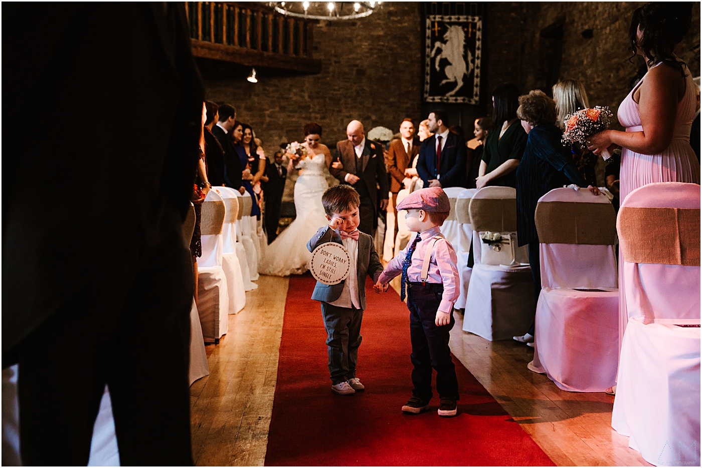 Boys walking down the aisle at Park Hall Hotel