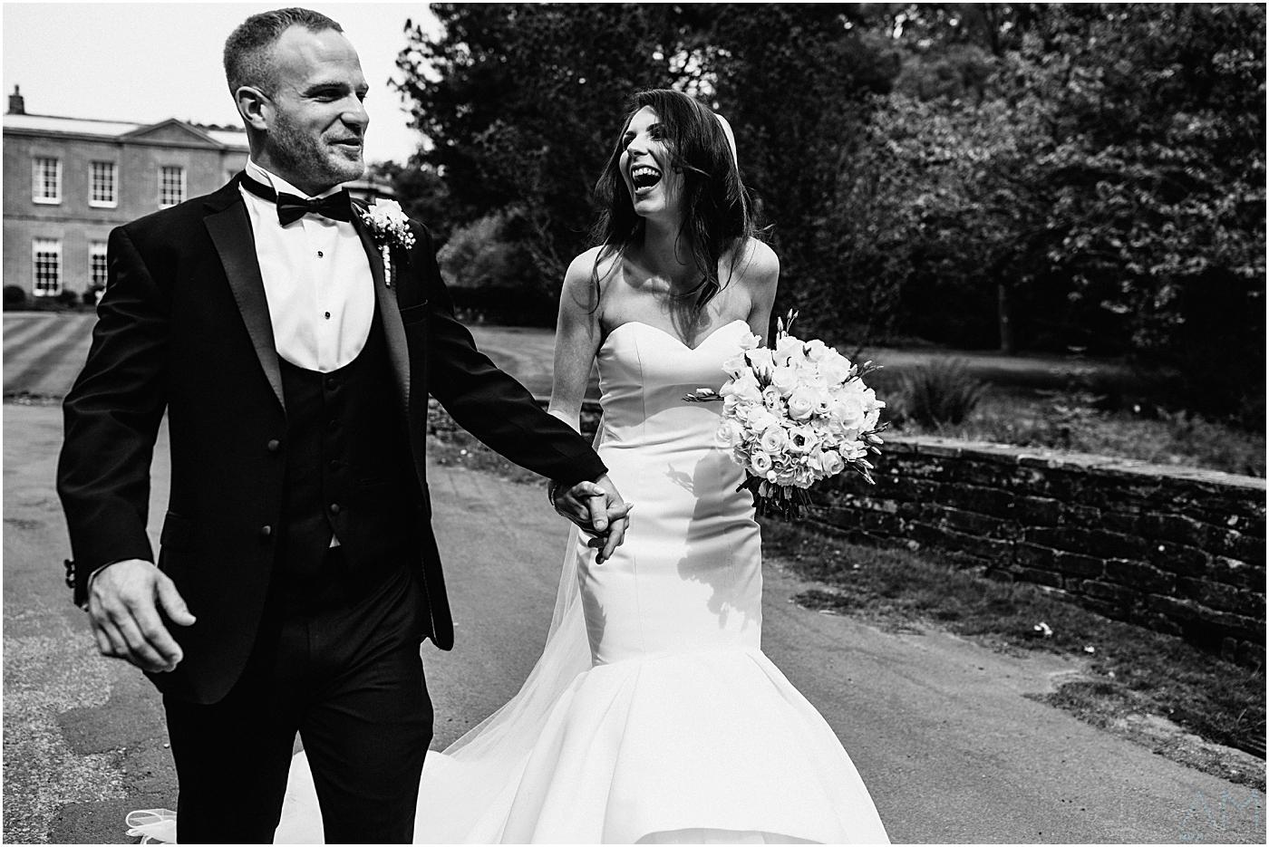 Newly weds having a walk around Rivington Hall Barn, Lancashire