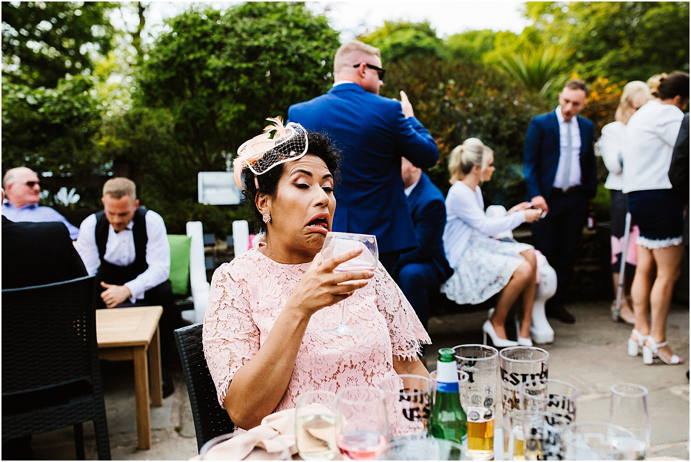 Wedding guest pulling her face