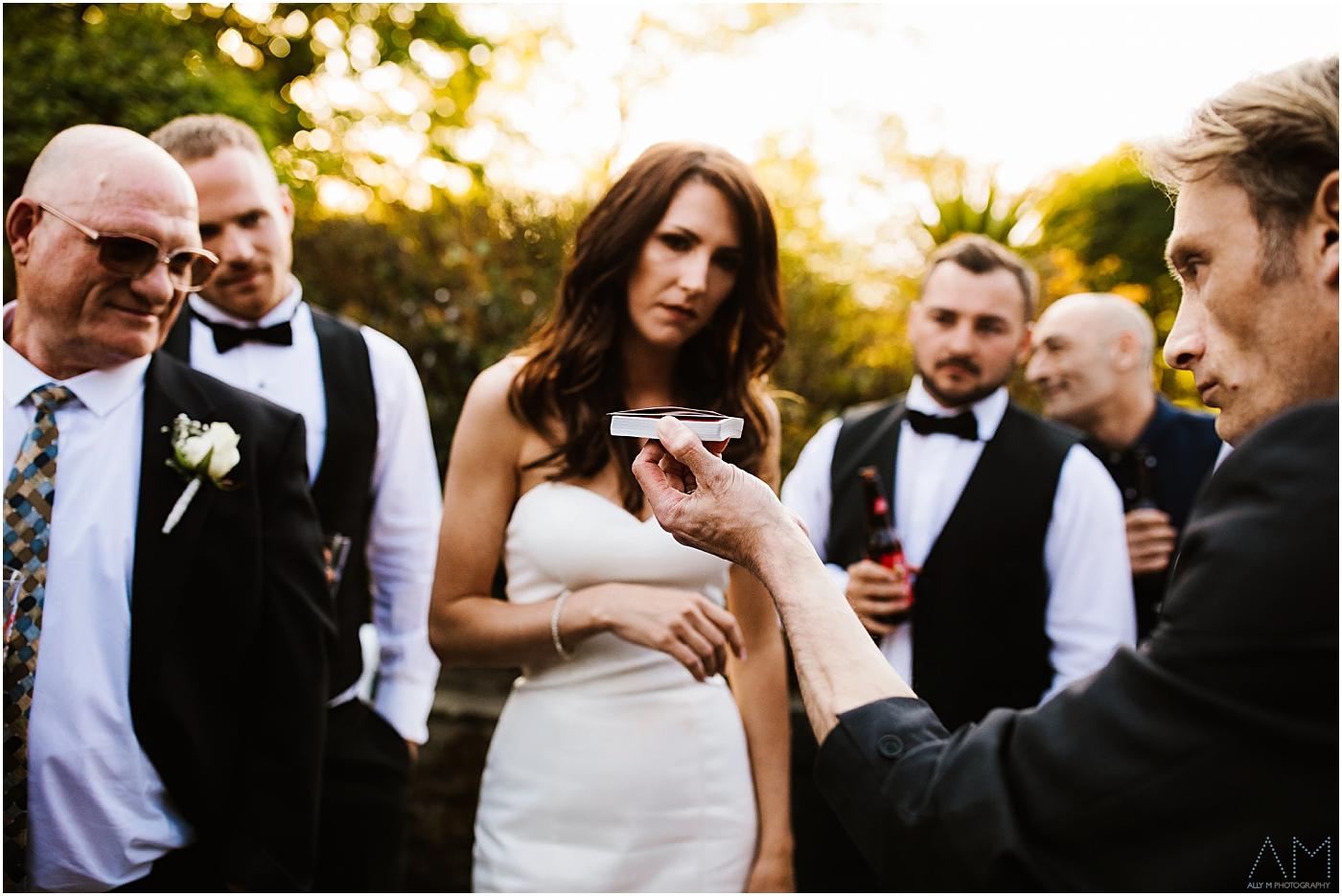 Magician showing bride a trick