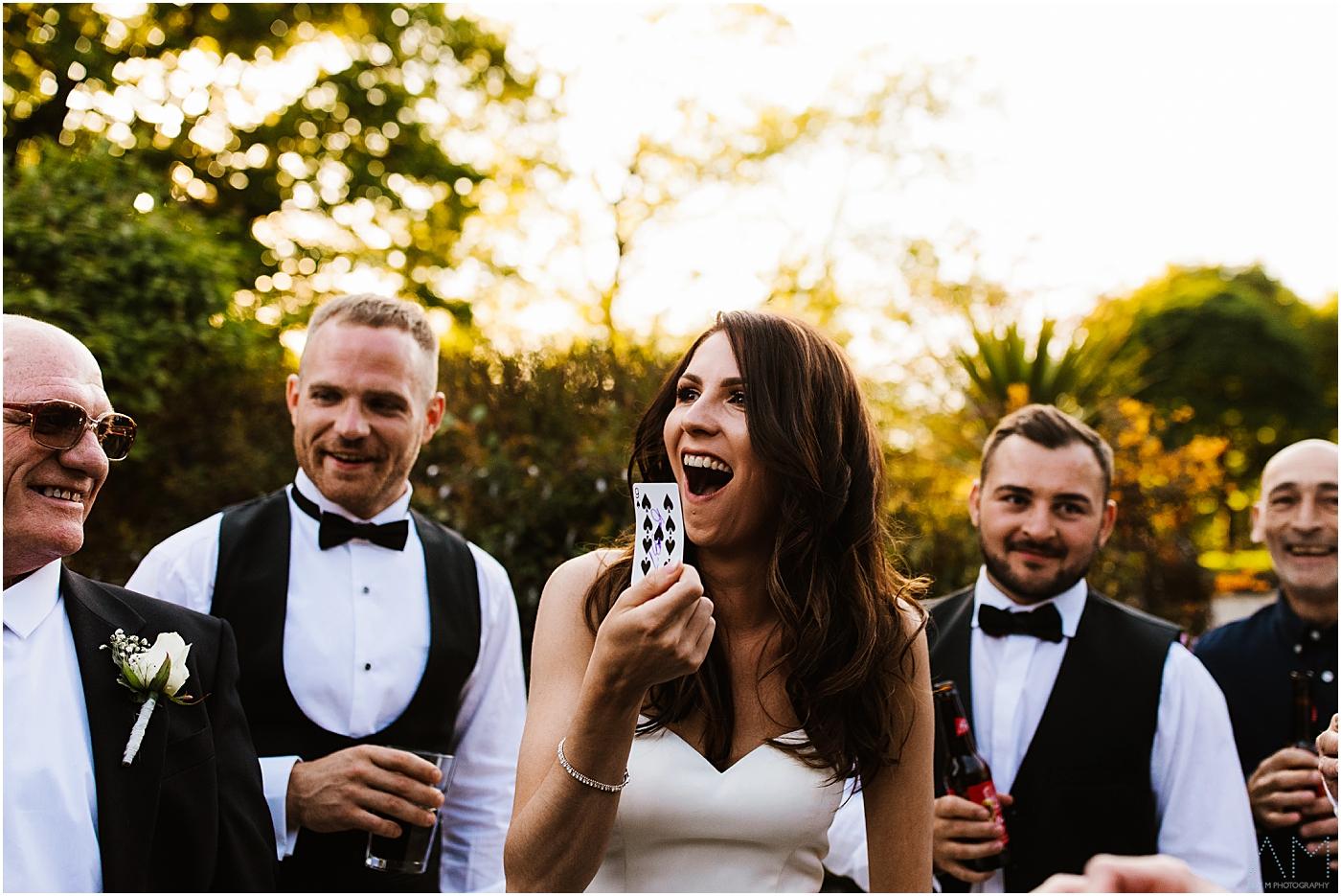shocked bride during magic tricks