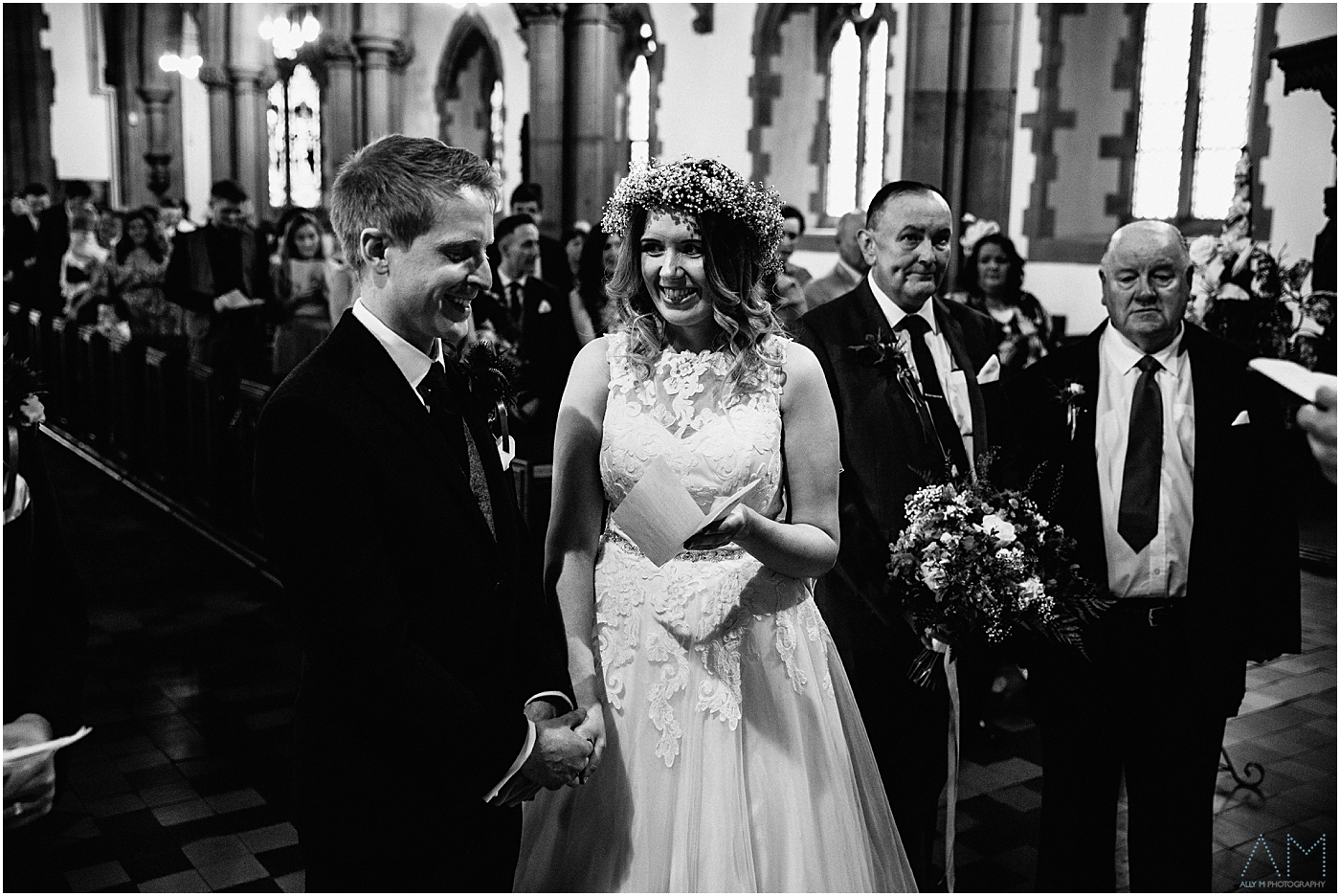exited bride at the church