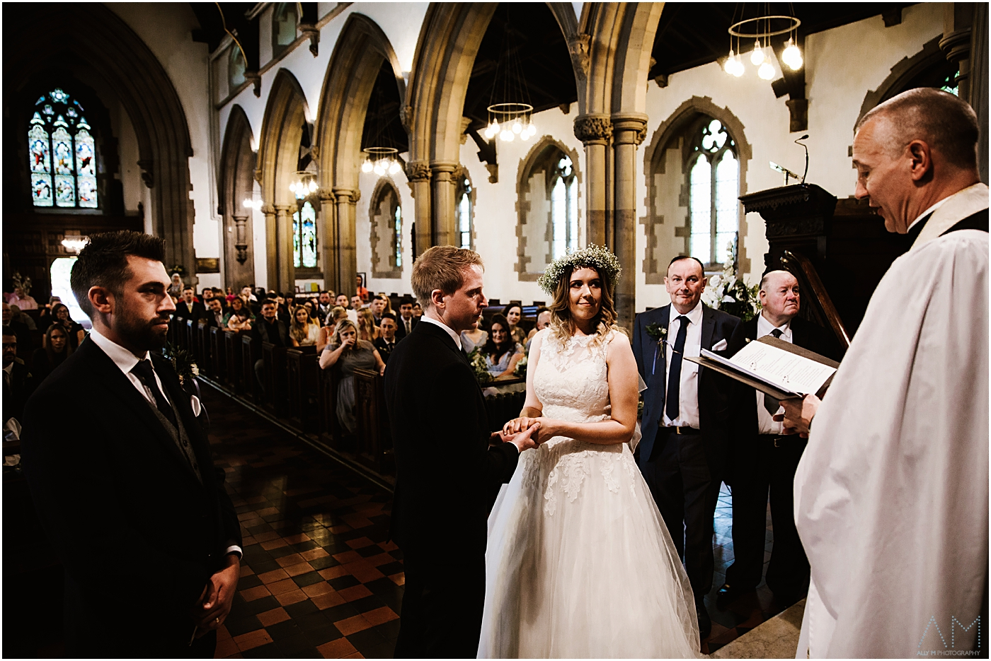 Bride and groom at St Marks church in manchester
