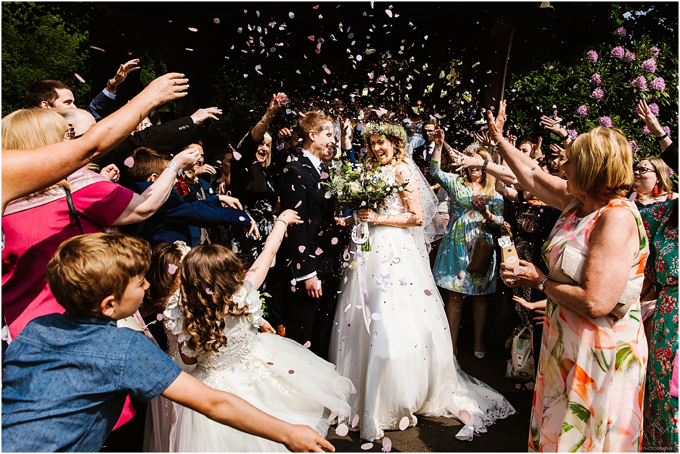 Loys of confetti at Manchester wedding