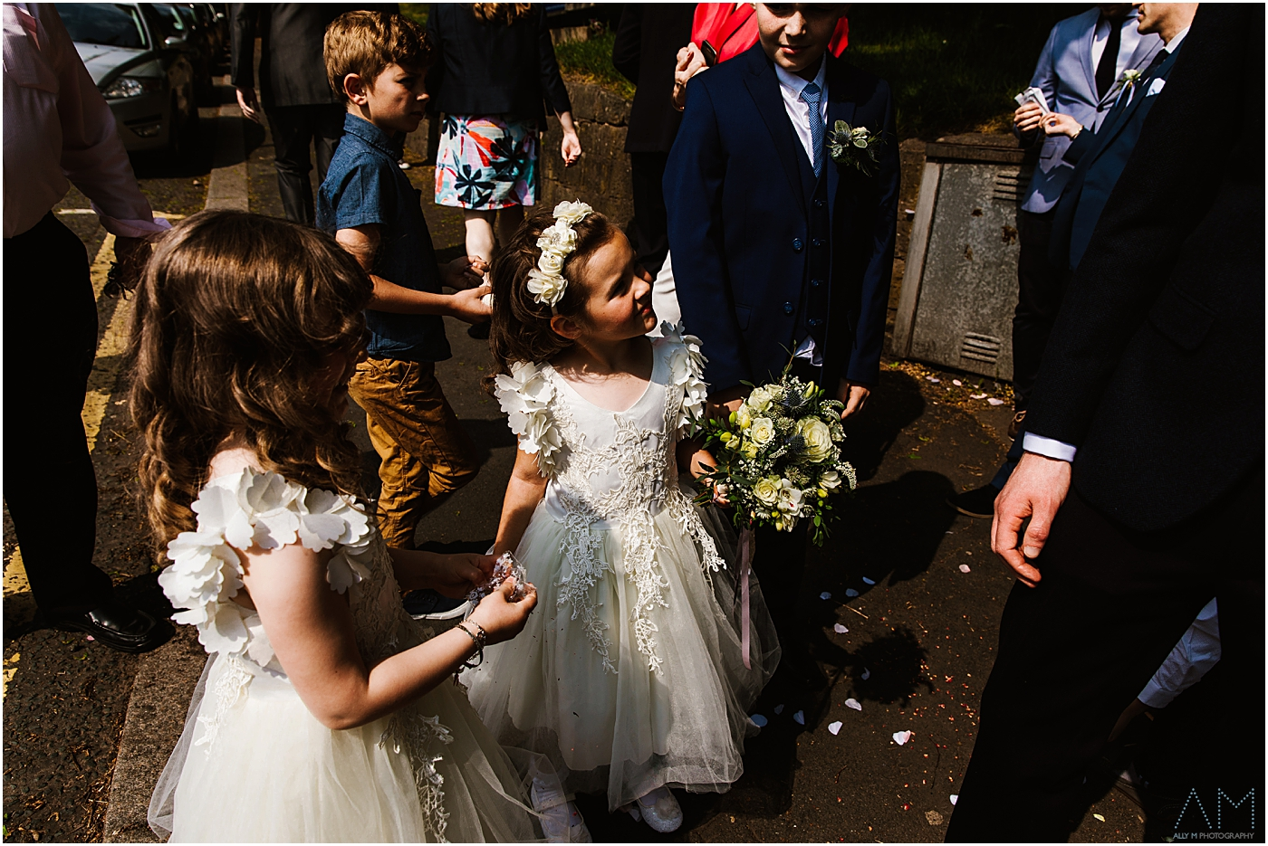 Flower girls outside the church in manchester