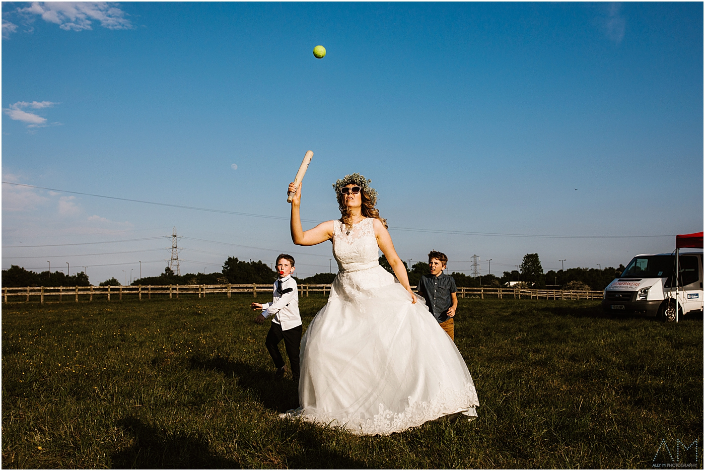 Bride playing rounders with the children at New Hill farm Stud