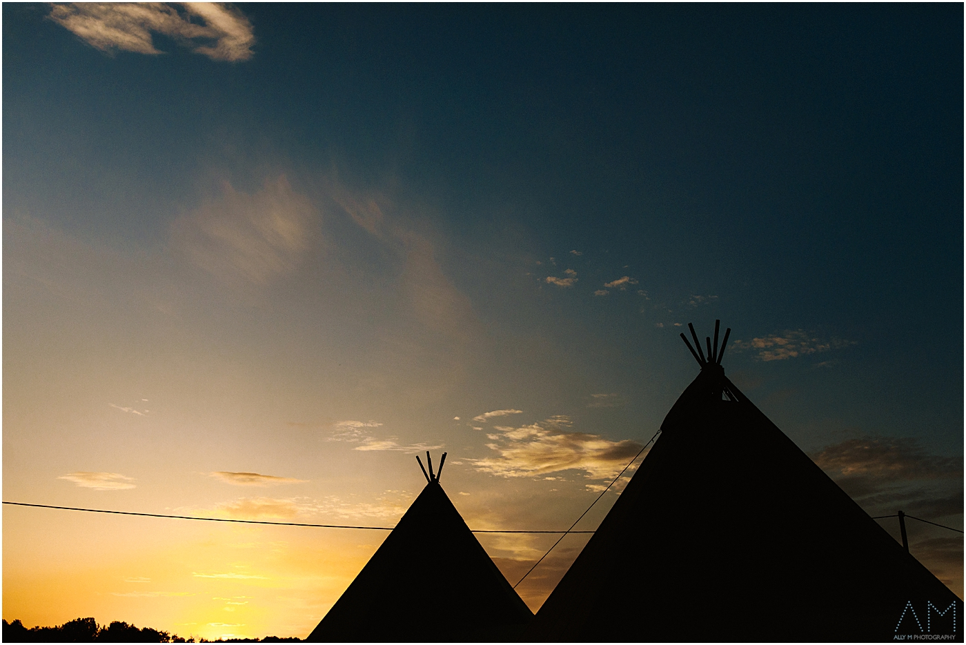 wedding teepee at sunset