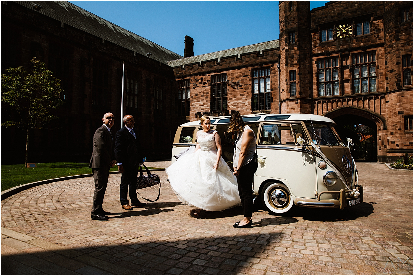 Bride arrives at Bolton school