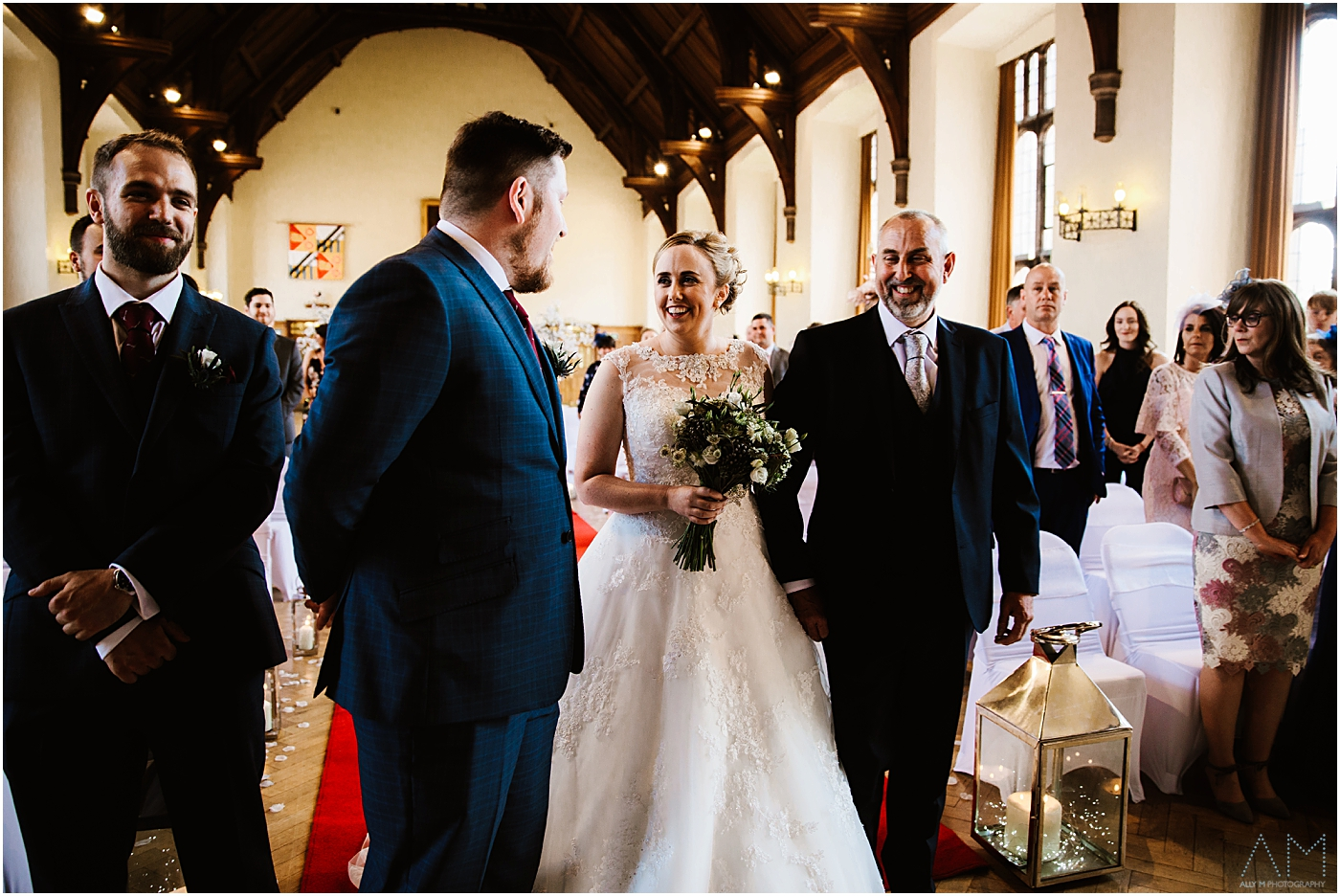 Bride and groom see each other for the first time at the wedding venue