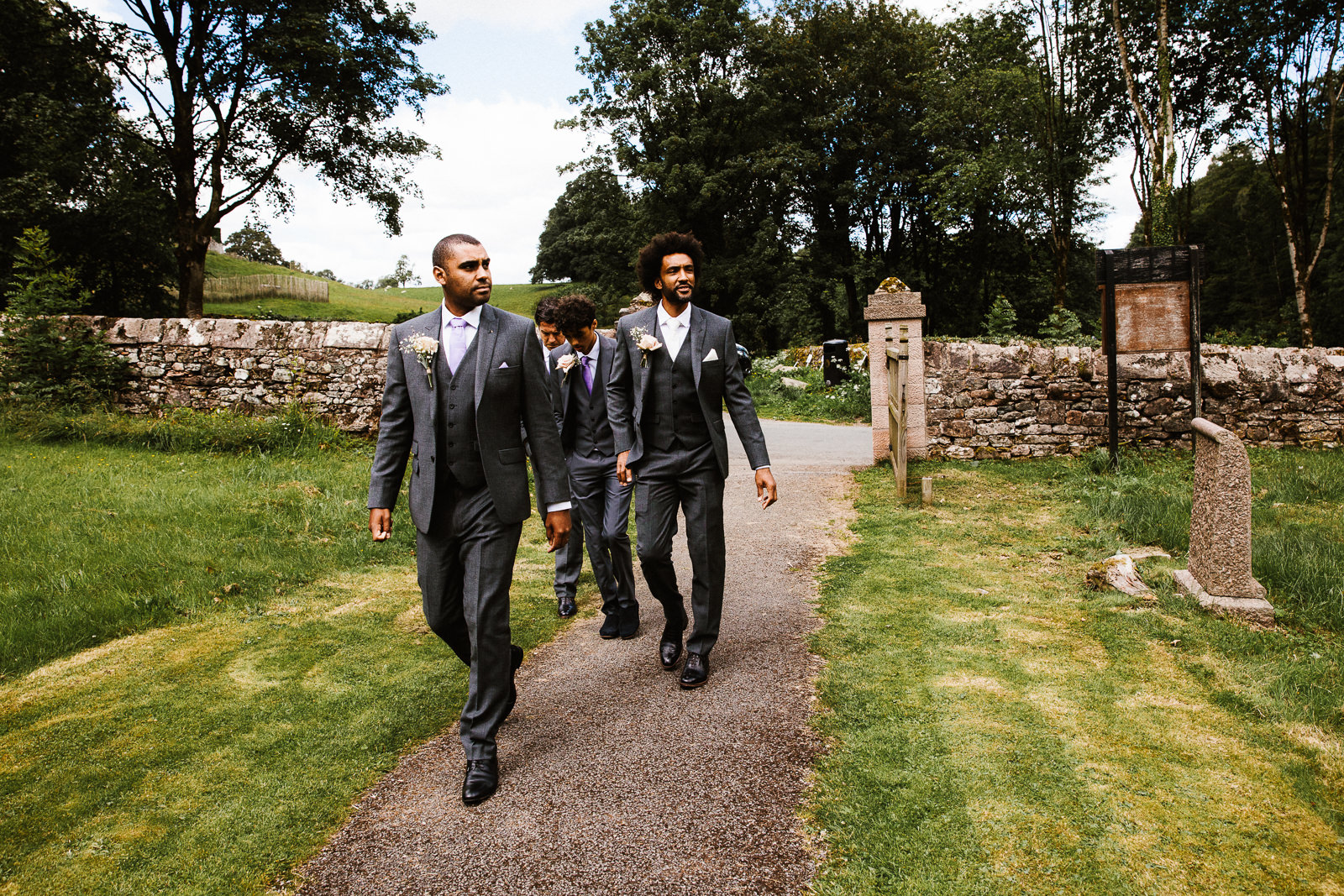 Groom and the boys arriving at church