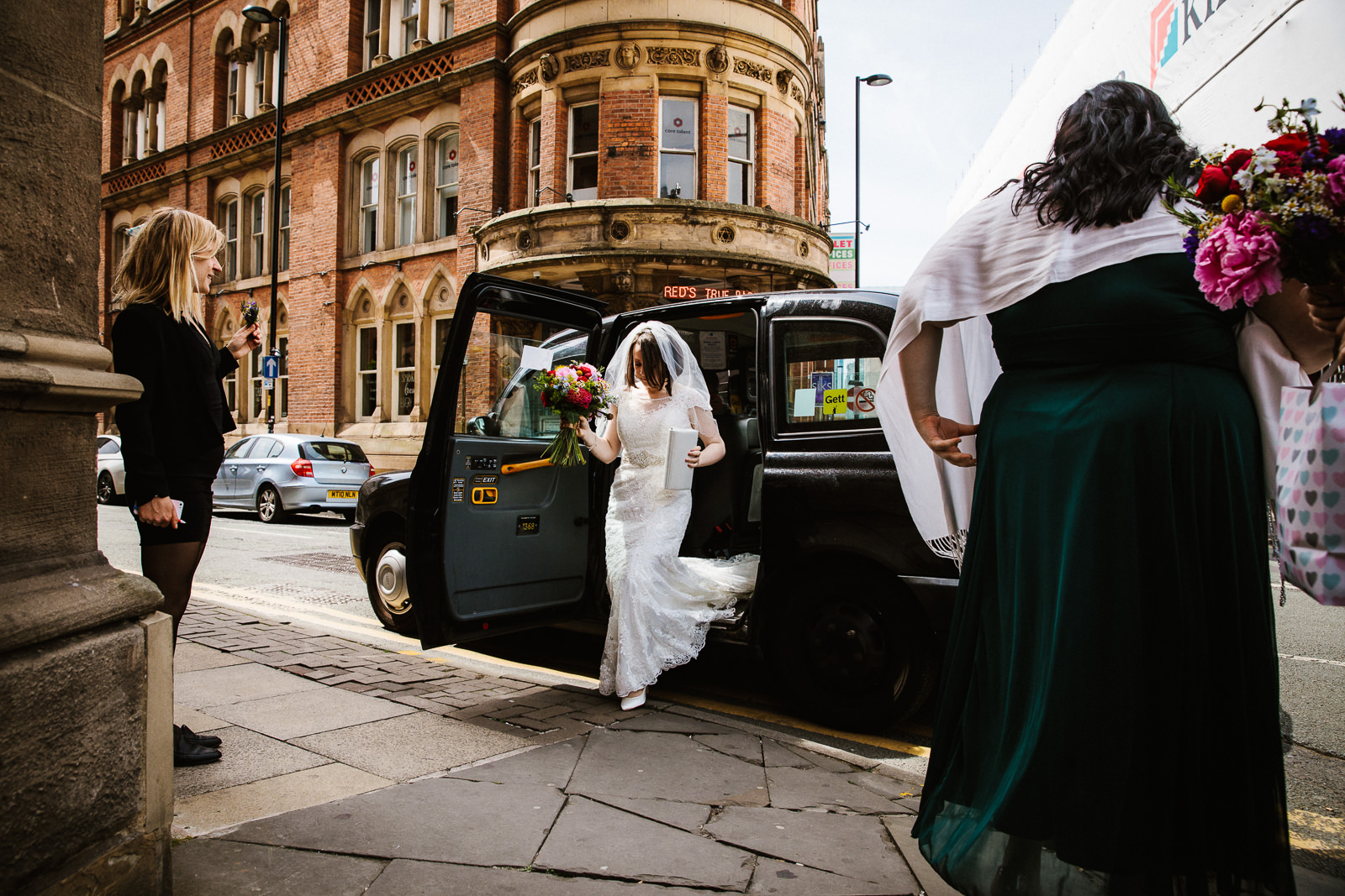 Bride arrives at Albert Chop House