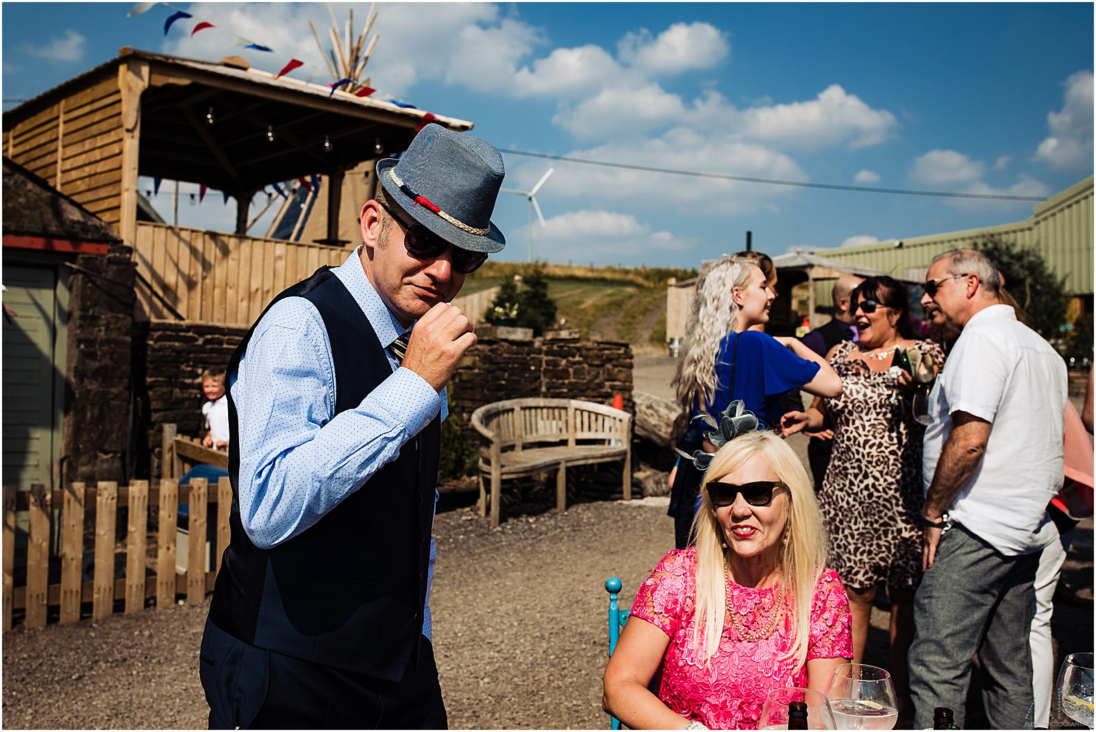 Wedding guest wearing a funny hat