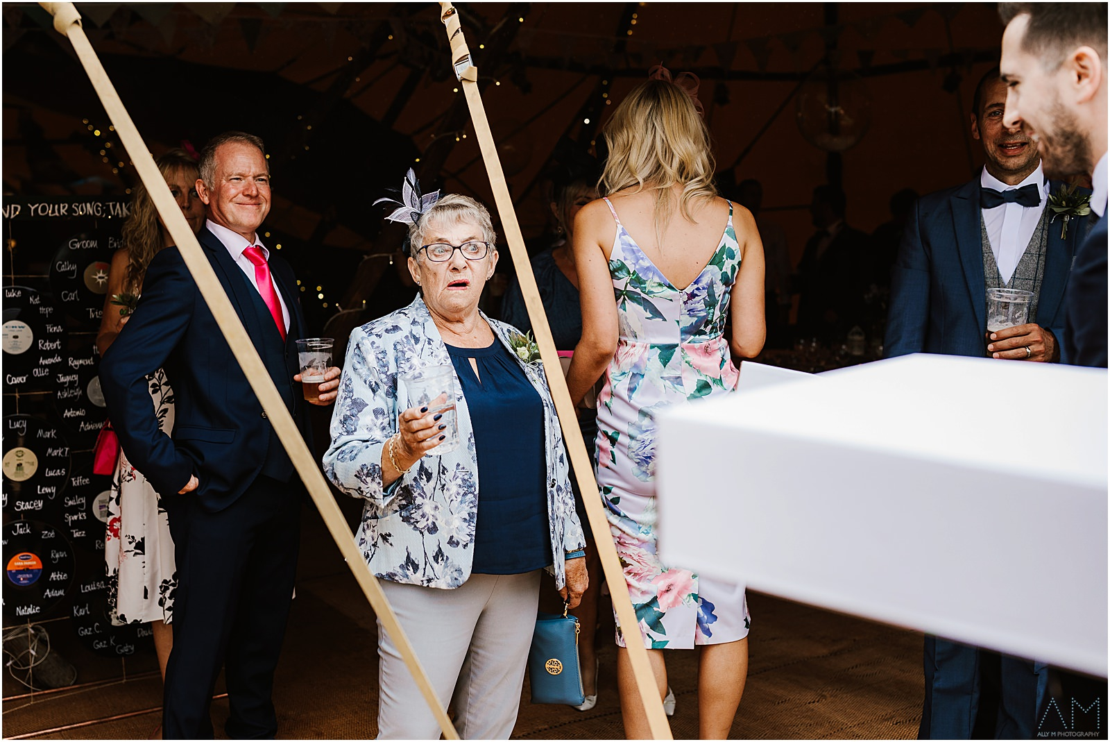 Grandma greeting guests