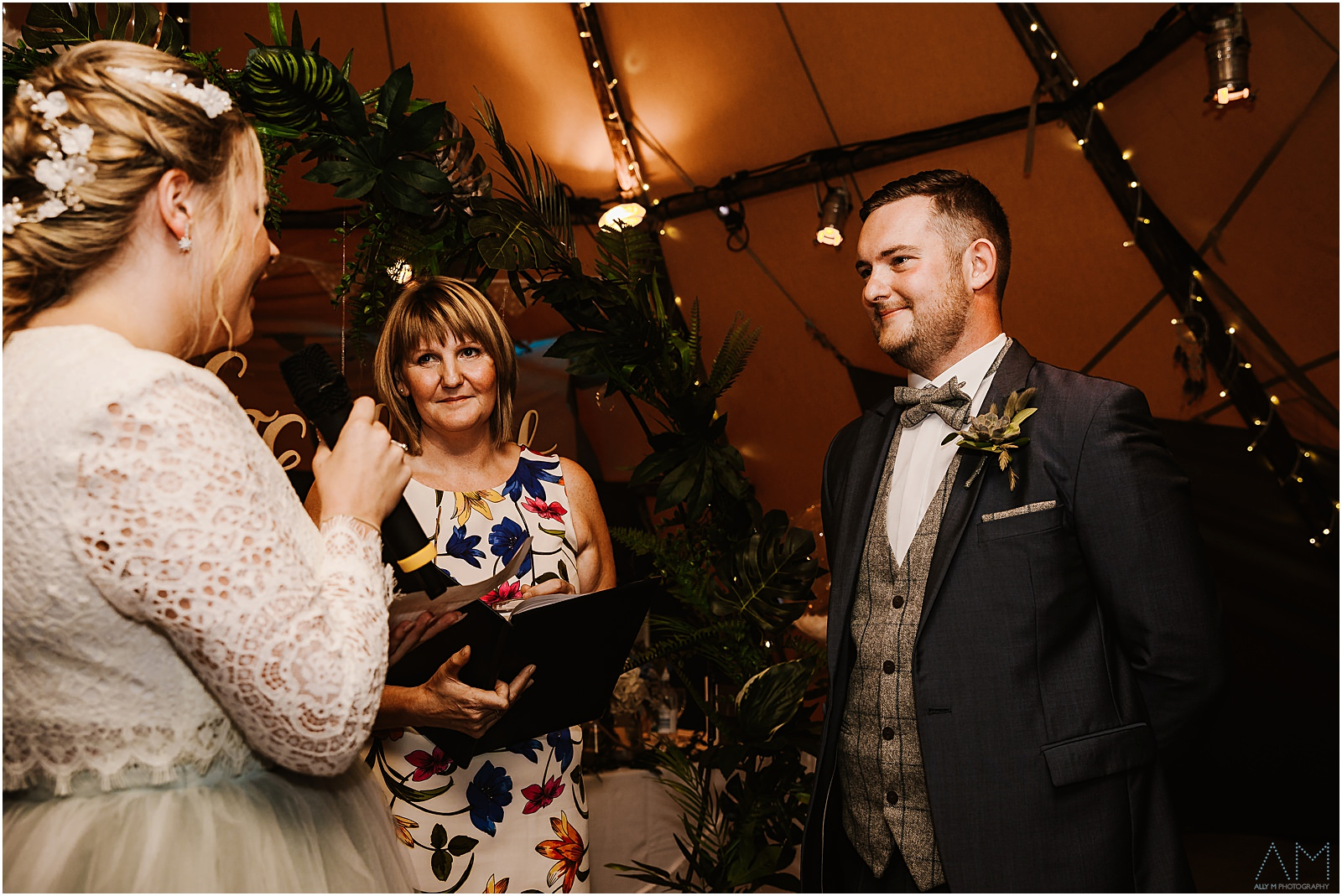Bride and groom to be smiling at each other