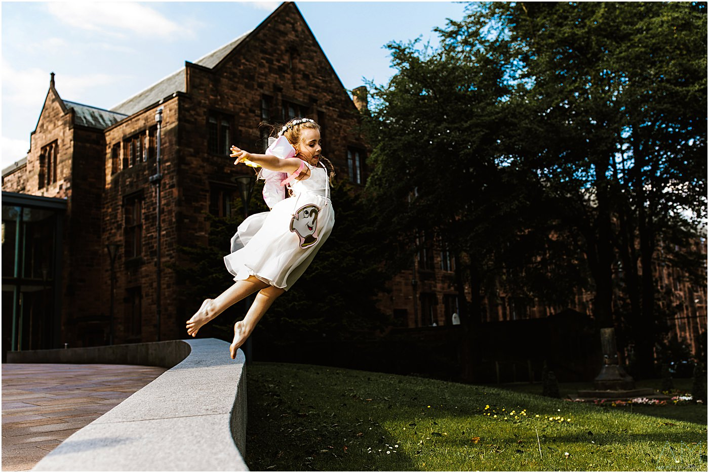Flying girl at Bolton school