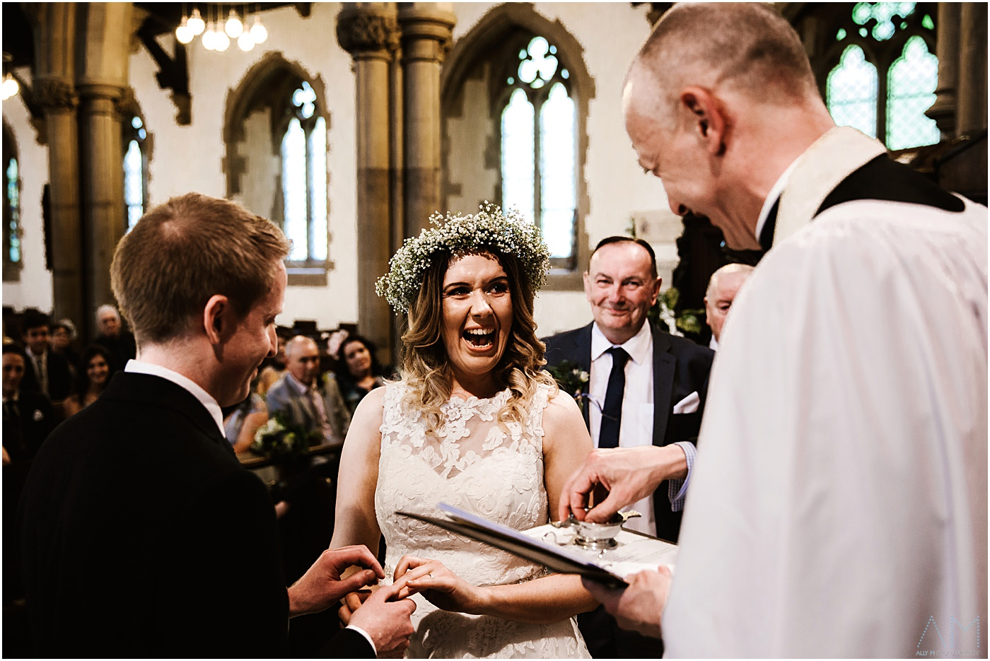Happy bride in church
