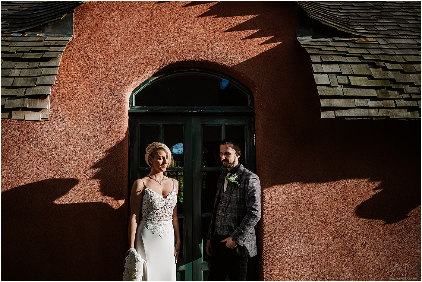 Bride and groom portrait at Le Petit chateau