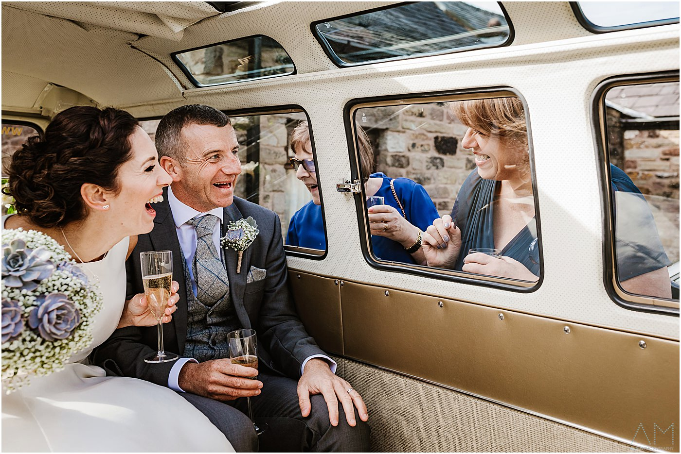 Bride and groom in camper van