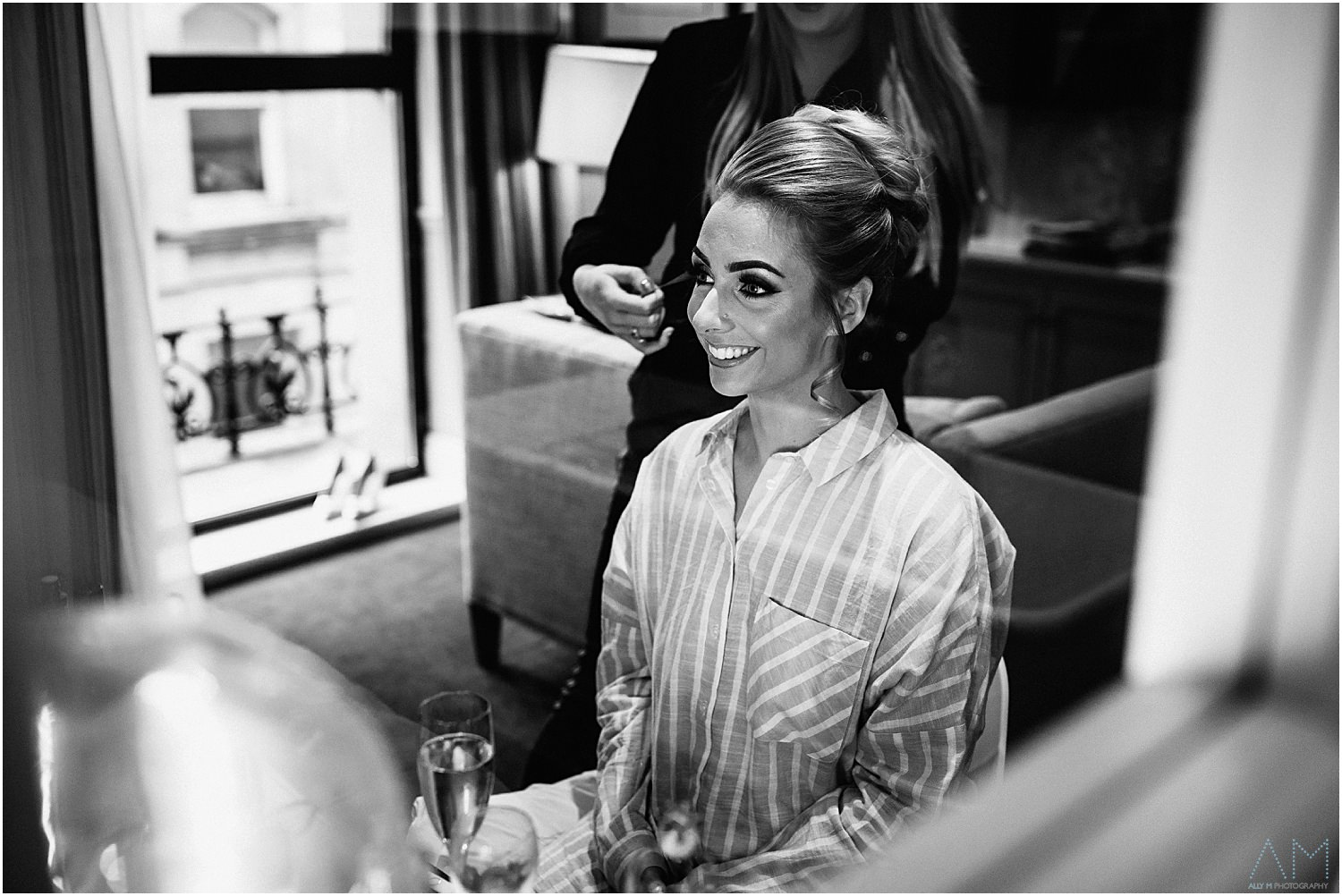 Bride getting ready at King street townhouse
