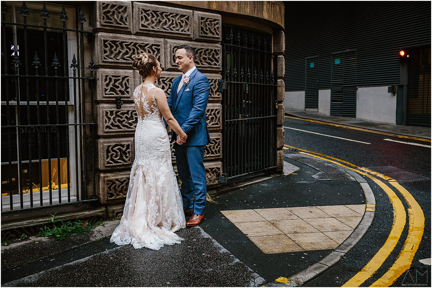 Portrait of bride and groom in Manchester
