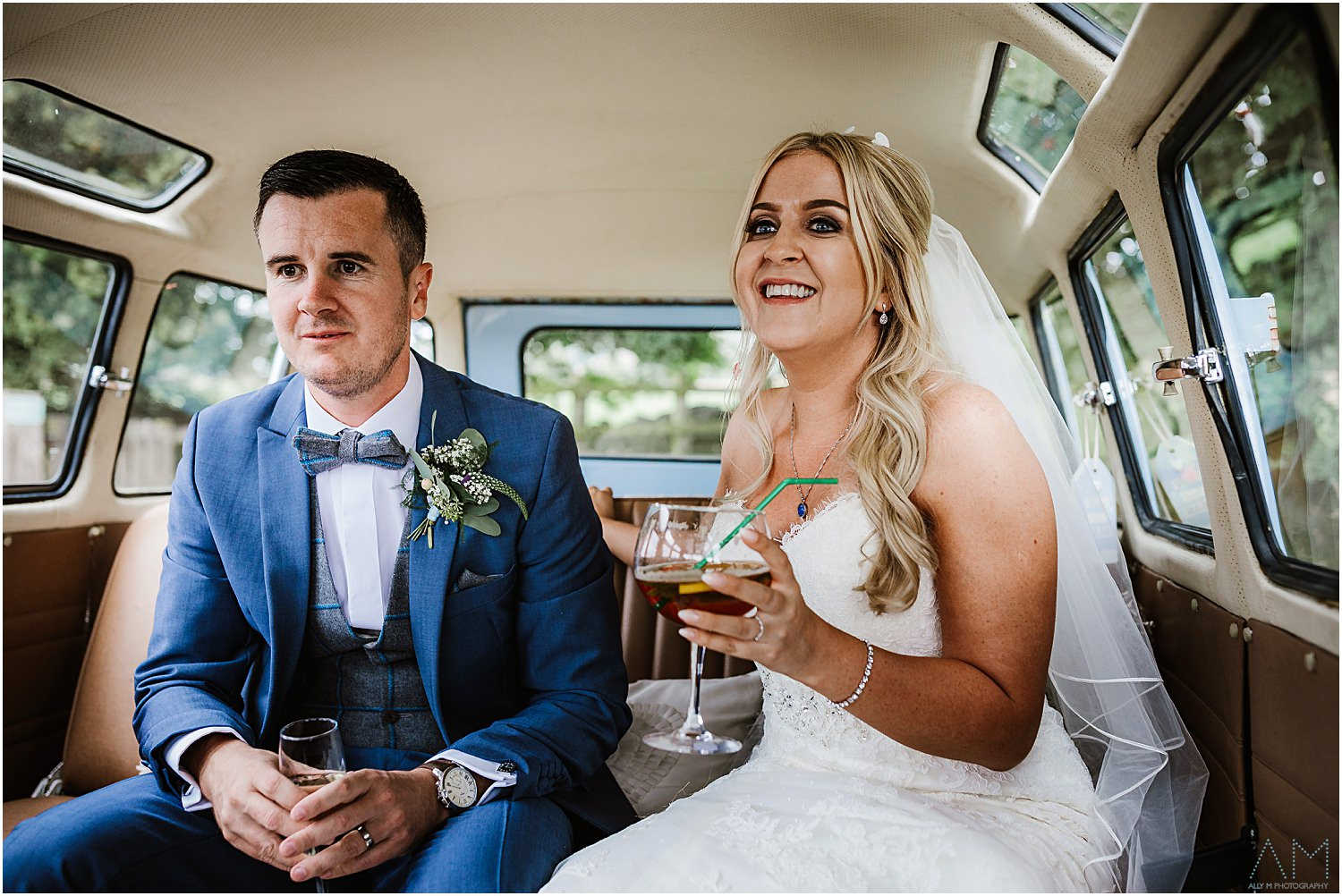 Bride and groom in campervan