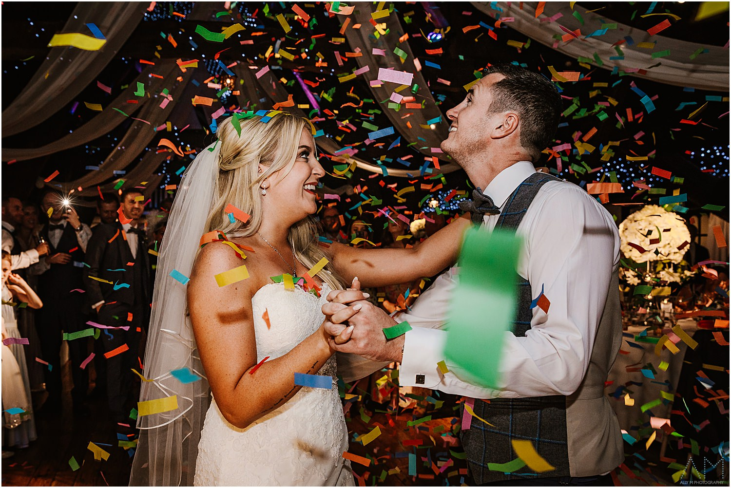 Confetti cannon at Rivington hall barn