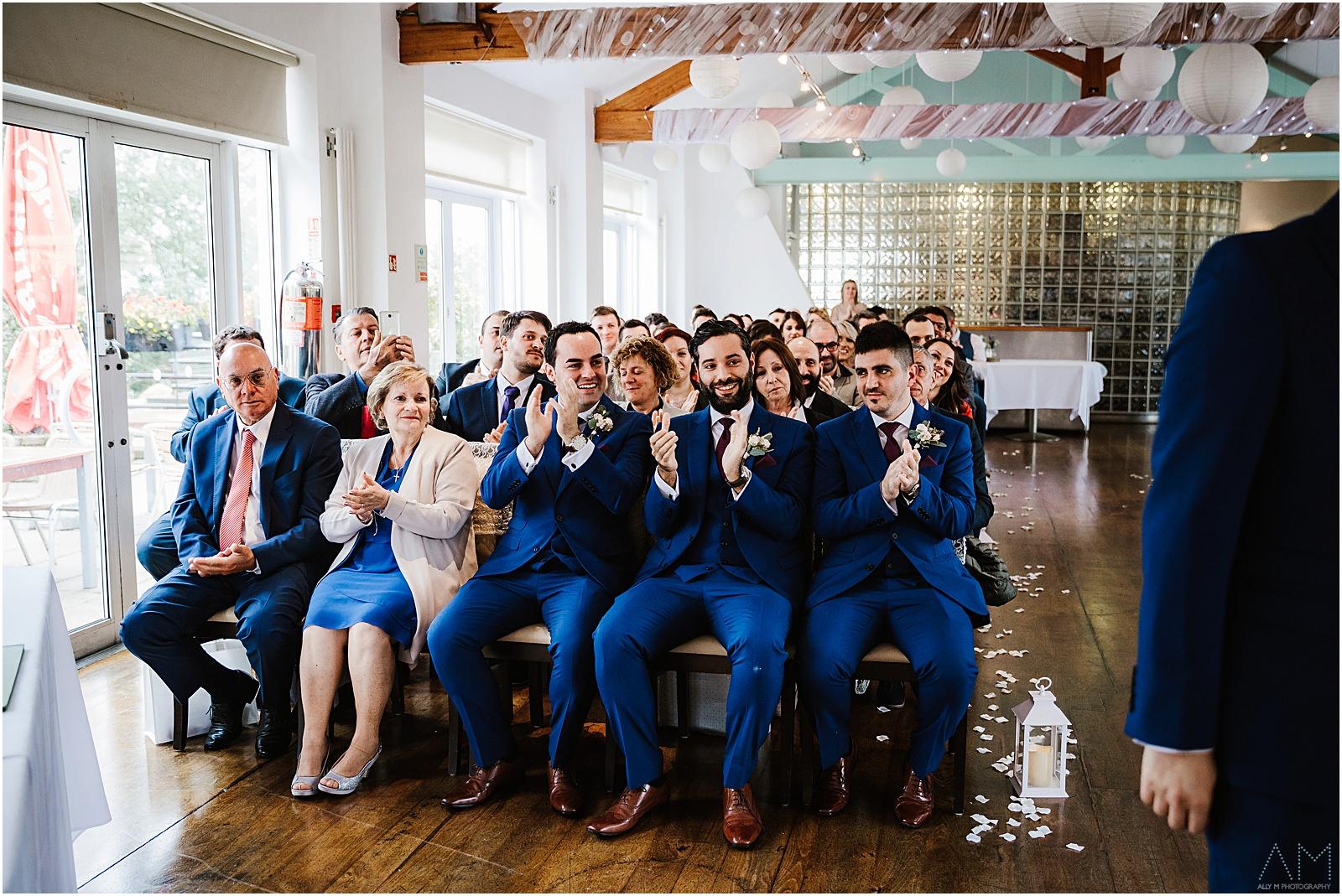 Italian wedding guets clapping