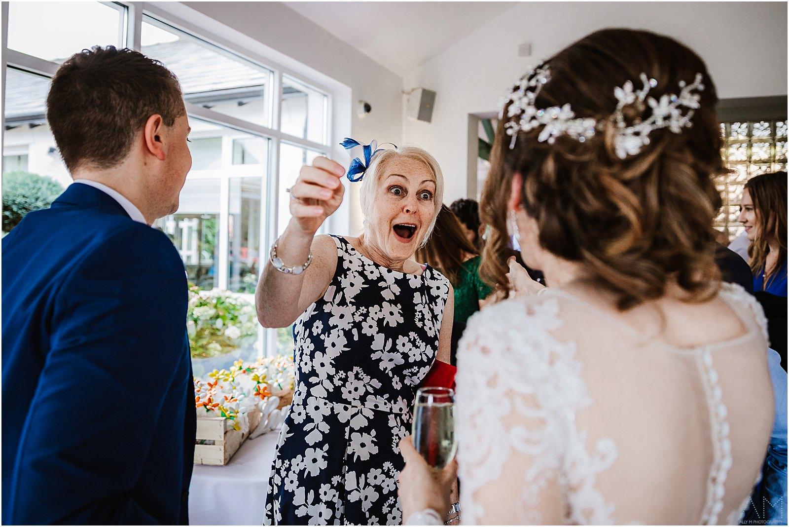 Happy wedding guest