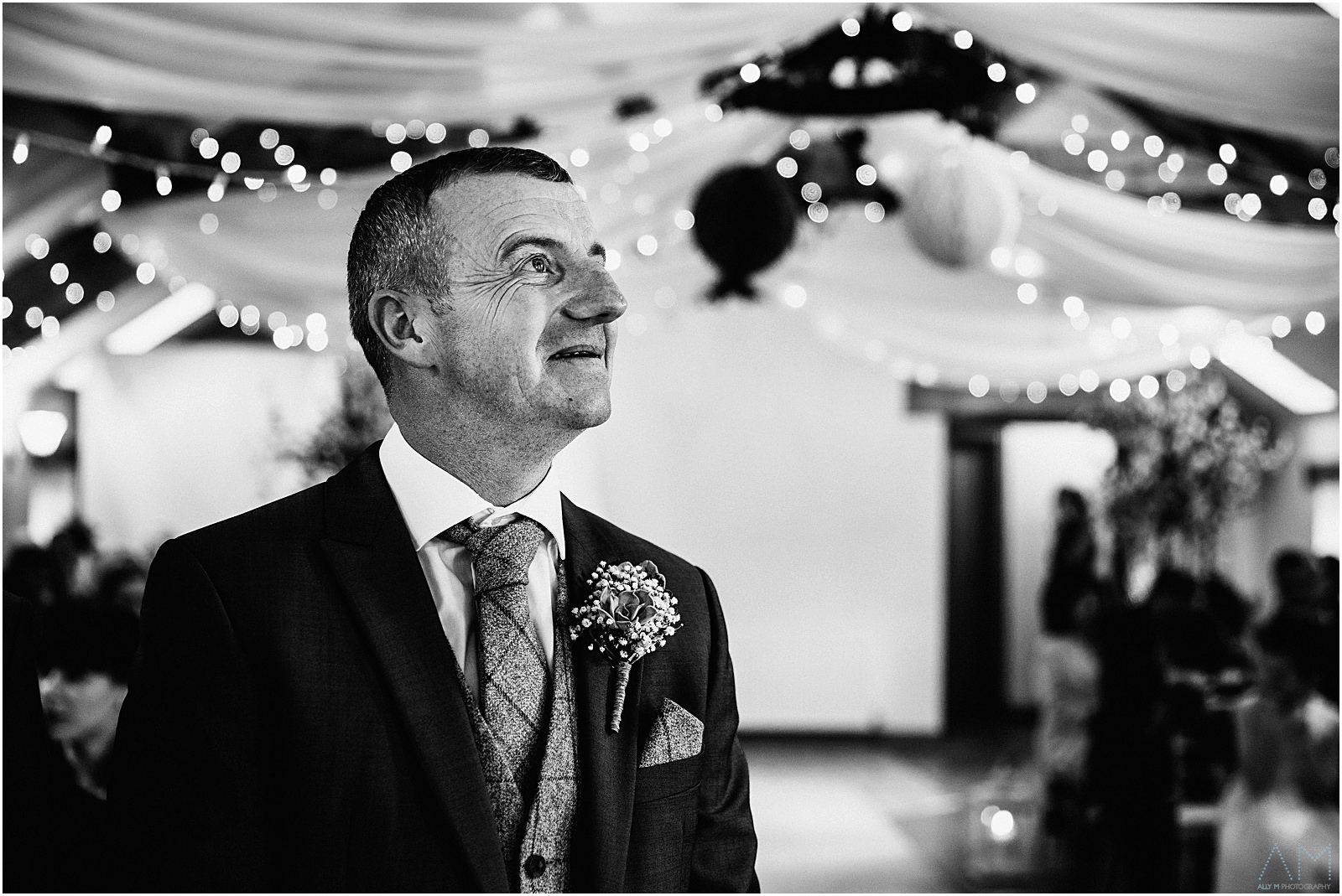 Groom waiting for his bride at Beeston manor