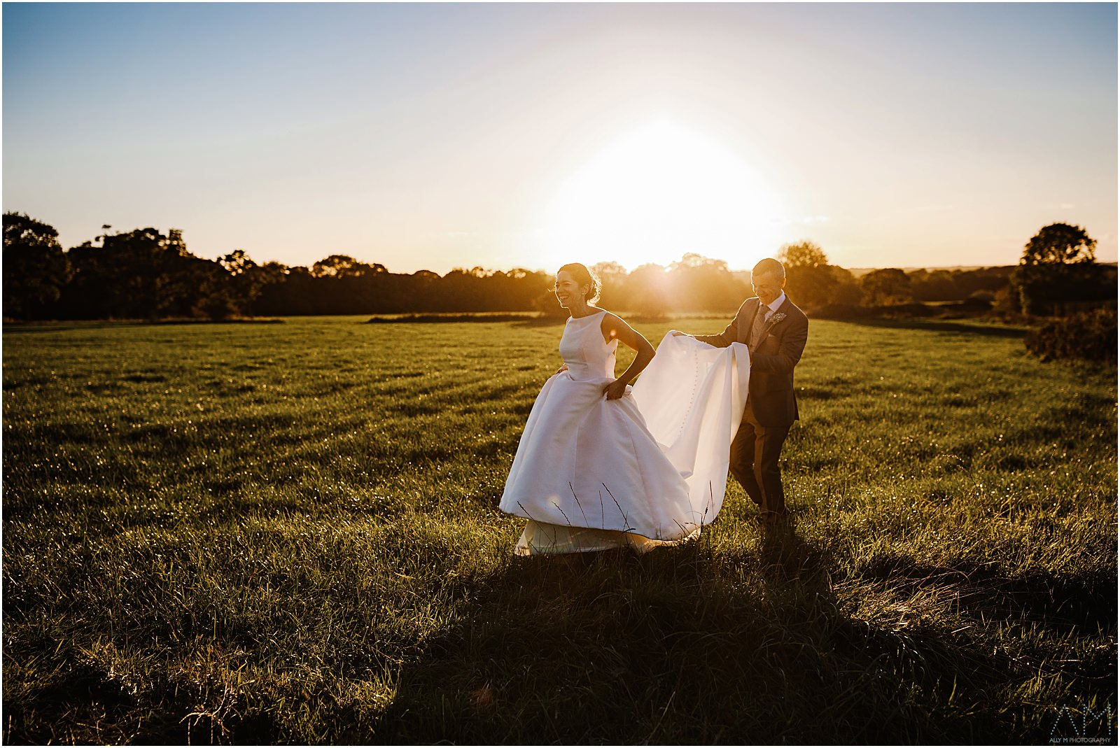 Bride and groom during sunset at Beeston manor