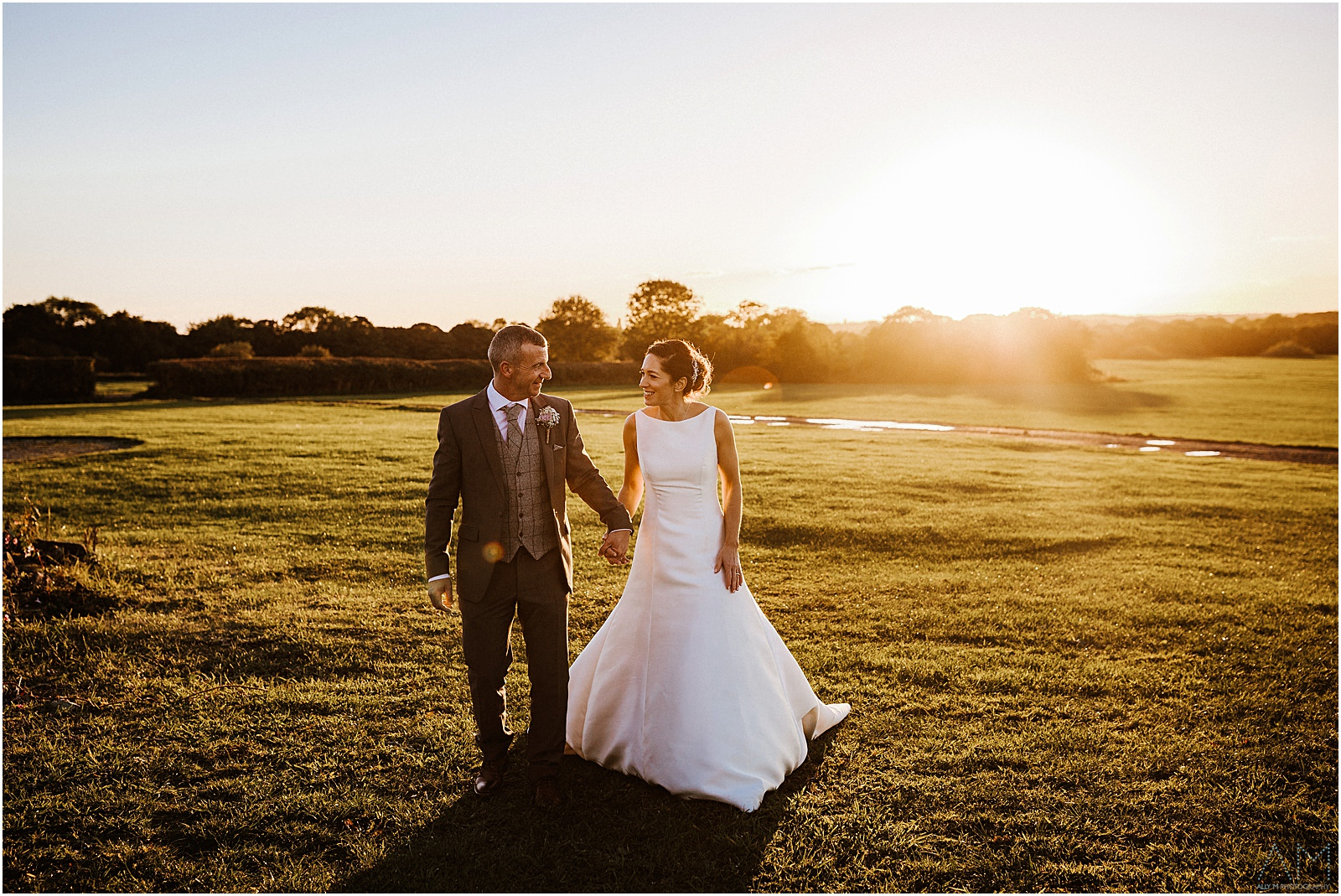 Bride and groom sunset at Beeston Manor
