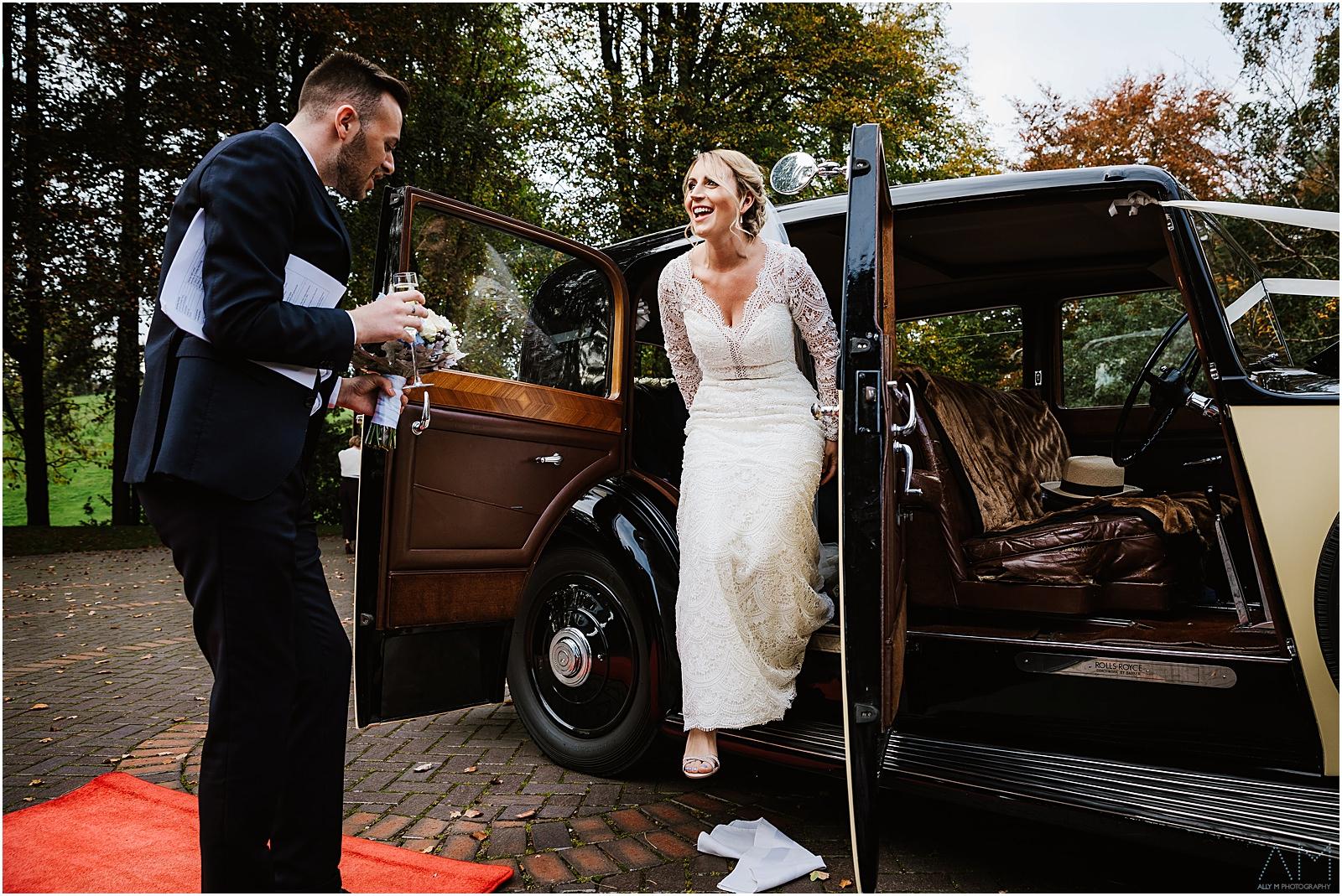 Bride arrives at Delamere manor